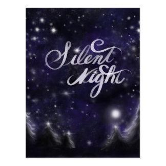 Cartão Postal Noite silenciosa - cena romântica da neve do