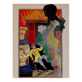 Cartão Postal Noites árabes Aladdin do vintage e os génios