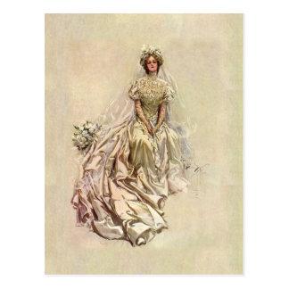 Cartão Postal Noiva 1902 bonita do ~ da época dourada