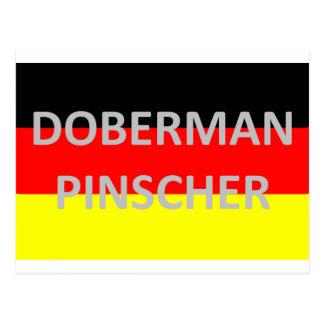 Cartão Postal nome do pinscher do doberman na Alemanha-bandeira