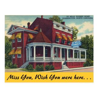 Cartão Postal North Carolina, casa de turista de De Mille,