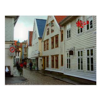Cartão Postal Noruega, Bergen, casas de madeira e godos
