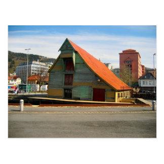 Cartão Postal Noruega, Bergen, warhouse do estilo tradicional,