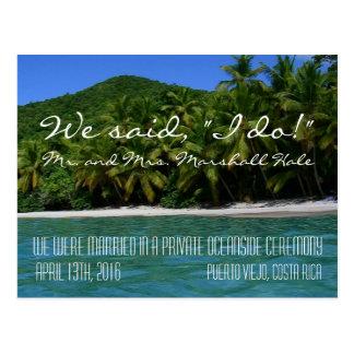 """Cartão Postal Nós dissemos que """"eu faço"""" Costa Rica que Wedding"""