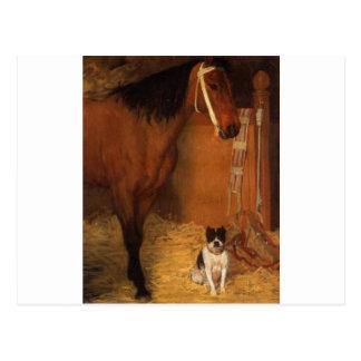 Cartão Postal Nos estábulos, no cavalo e no cão por Edgar Degas