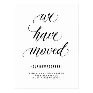 Cartão Postal Nós movemos o endereço novo da caligrafia moderna