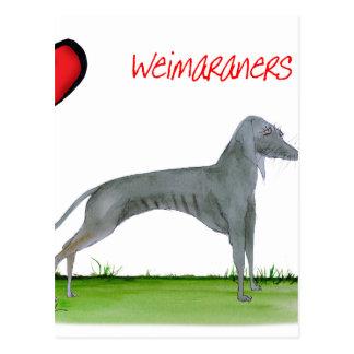 Cartão Postal nós weimaraners do luv de Tony Fernandes