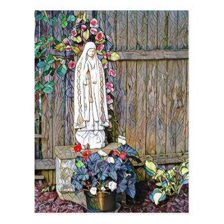 Cartão Postal Nossa senhora de Fatima w floresce pela cerca