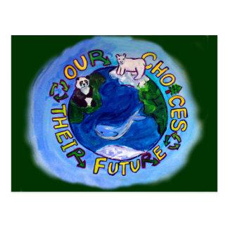 Cartão Postal Nossas escolhas - o reciclar, reusar, reduz o
