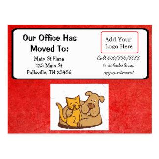 Cartão Postal Nosso escritório veterinário moveu o anúncio