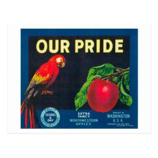 Cartão Postal Nosso orgulho Apple etiqueta - o estado de