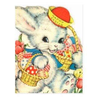 Cartão Postal Nostálgico do vintage do feriado do coelho de felz