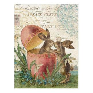 Cartão Postal Notecard dos coelhinhos da Páscoa do vintage
