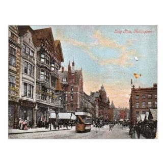 Cartão Postal Nottingham, fileira longa com bondes adiantados,