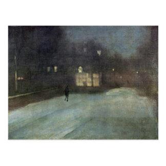 Cartão Postal Noturno na neve das cinzas e do ouro em Chelsea