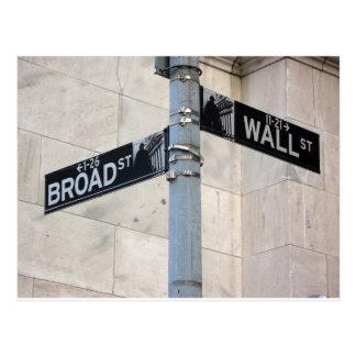 Cartão Postal Nova Iorque do sinal de Wall Street