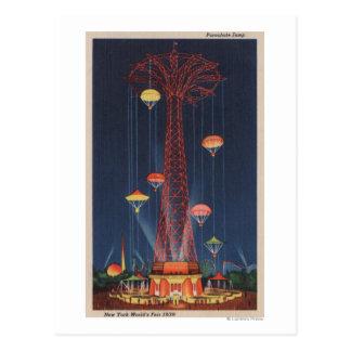 Cartão Postal Nova Iorque, NY - salto de pára-quedas no mundo
