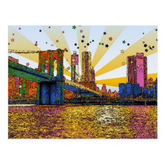Cartão Postal Nova Iorque psicadélico: Ponte de Brooklyn, WTC #1