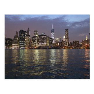 Cartão Postal Nova Iorque Skyline Hudson River World Trade