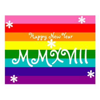 Cartão Postal Numeral 2018 romano do arco-íris LGBT do feliz ano