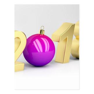 Cartão Postal Número 2018 com bola do Natal
