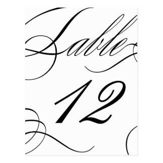 Cartão Postal Número bonito da mesa (cor de texto customizável)