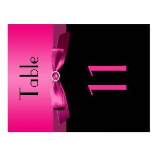 Cartão Postal Número cor-de-rosa e preto frente e verso da mesa