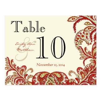 Cartão Postal Número da mesa do casamento de Paisley do limão do