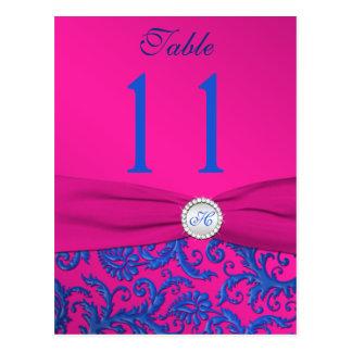 Cartão Postal Número da mesa do damasco do cobalto e do fúcsia