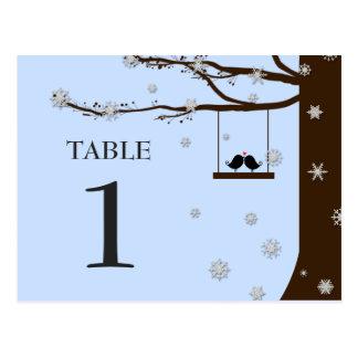 Cartão Postal Número da mesa do inverno do carvalho dos flocos