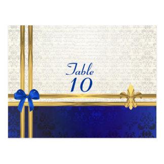 Cartão Postal Número de creme azul da mesa do damasco