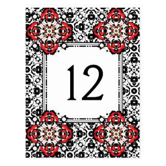 Cartão Postal Número elegante da mesa do damasco da estação do