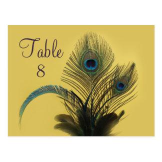 Cartão Postal Número elegante da mesa do pavão (amarelo)