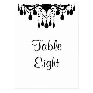 Cartão Postal Número grande da mesa do salão de baile (branco)