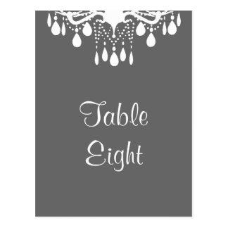 Cartão Postal Número grande da mesa do salão de baile (cinzas)