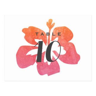 Cartão Postal Número havaiano da mesa do casamento do hibiscus