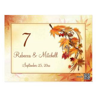 Cartão Postal Número outonal da mesa das folhas