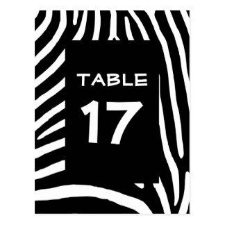 Cartão Postal Número preto da mesa das listras da zebra