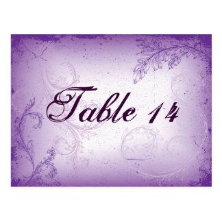 Cartão Postal Número roxo da mesa da folha do rolo do lilac do