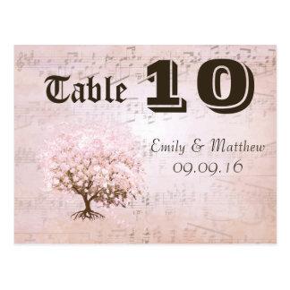Cartão Postal Número simplesmente cor-de-rosa da mesa da árvore