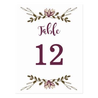 Cartão Postal Números florais boémios da mesa da floresta