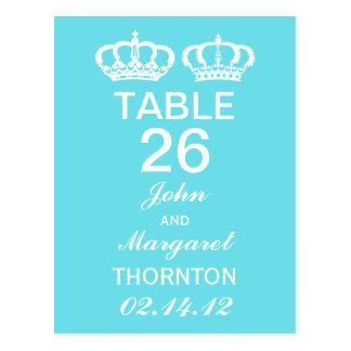 Cartão Postal Números reais azuis da mesa do casal