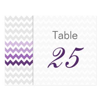 Cartão Postal Números roxos da mesa do casamento de Ombre da