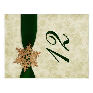 Cartão Postal números verdes da mesa do casamento no inverno dos