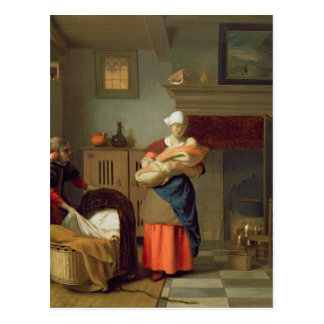 Cartão Postal Nursemaid com bebê em um interior