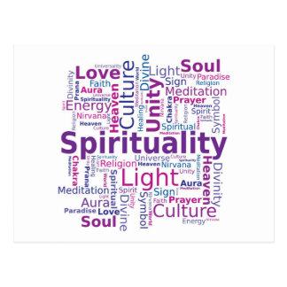 Cartão Postal Nuvem da palavra da espiritualidade - rosa