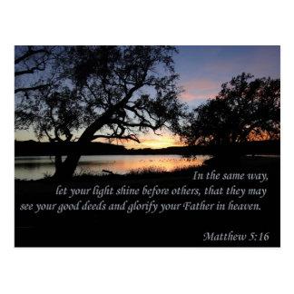 Cartão Postal O 5:16 de Matthew deixou seu brilho claro