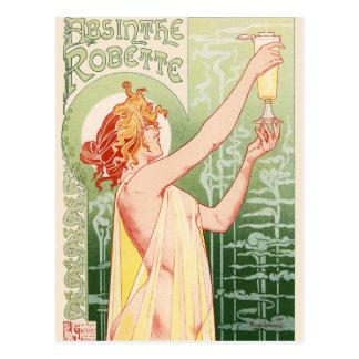 Cartão Postal O absinto Robette - poster vintage do álcool