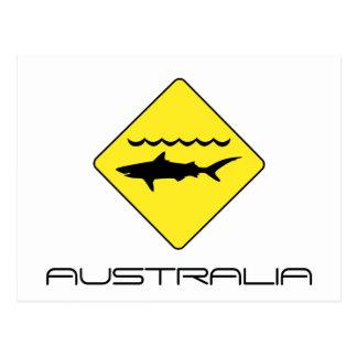 """Cartão Postal O amarelo """"tubarões de advertência"""" assina dentro"""
