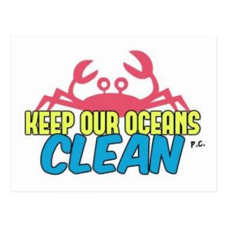 Cartão Postal O ambiente mantem nosso slogan limpo dos oceanos